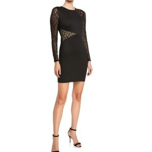 BCBGMAXAZRIA Jorden Lace-Detailed Dress — Black